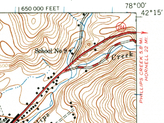 Reduced fragment of topographic map en--usgs--063k--051156--(1939)--N042-15_W078-15--N042-00_W078-00; towns and cities Belmont, Bolivar, Friendship