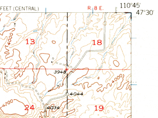 Reduced fragment of topographic map en--usgs--063k--051160--(1956)--N047-30_W111-00--N047-15_W110-45; towns and cities Belt