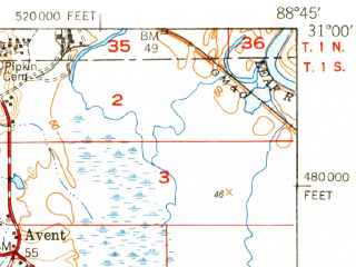 Reduced fragment of topographic map en--usgs--063k--051198--(1949)--N031-00_W089-00--N030-45_W088-45