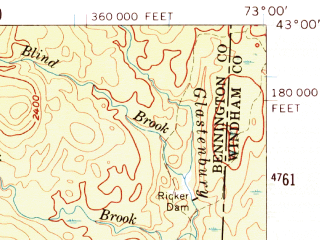 Reduced fragment of topographic map en--usgs--063k--051202--(1954)--N043-00_W073-15--N042-45_W073-00; towns and cities Bennington, North Bennington, Old Bennington
