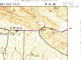 Reduced fragment of topographic map en--usgs--063k--051205--(1938)--N034-45_W092-45--N034-30_W092-30 in area of Lake Norrell; towns and cities Benton, Bauxite, Haskell, Salem