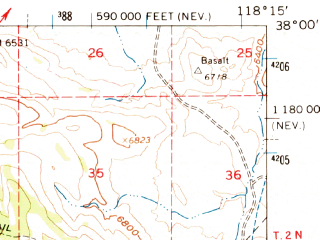 Reduced fragment of topographic map en--usgs--063k--051207--(1962)--N038-00_W118-30--N037-45_W118-15