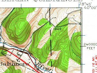 Reduced fragment of topographic map en--usgs--063k--051243--(1923)--N040-00_W079-00--N039-45_W078-45; towns and cities Callimont, New Baltimore, Berlin