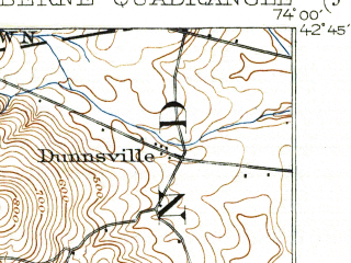 Reduced fragment of topographic map en--usgs--063k--051247--(1903)--N042-45_W074-15--N042-30_W074-00; towns and cities Altamont, Delanson