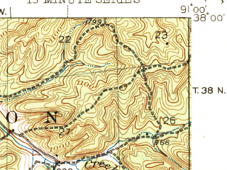 Reduced fragment of topographic map en--usgs--063k--051250--(1945)--N038-00_W091-15--N037-45_W091-00