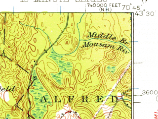 Reduced fragment of topographic map en--usgs--063k--051254--(1941)--N043-30_W071-00--N043-15_W070-45 in area of Northeast Pond; towns and cities Rochester, Sanford, Somersworth, Springvale