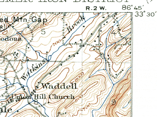 Reduced fragment of topographic map en--usgs--063k--051255--(1905)--N033-30_W087-00--N033-15_W086-45; towns and cities Homewood, Bessemer, Vestavia Hills, Fairfield, Hoover