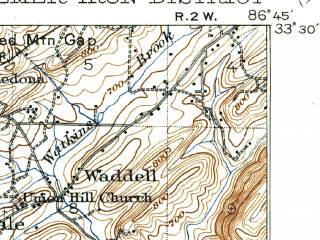 Reduced fragment of topographic map en--usgs--063k--051255--(1907)--N033-30_W087-00--N033-15_W086-45; towns and cities Homewood, Bessemer, Hoover, Hueytown, Vestavia Hills
