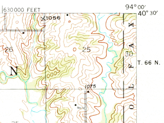 Reduced fragment of topographic map en--usgs--063k--051257--(1948)--N040-30_W094-15--N040-15_W094-00; towns and cities Bethany, New Hampton