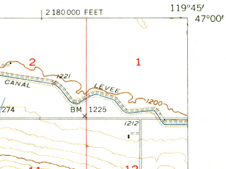 Reduced fragment of topographic map en--usgs--063k--051315--(1954)--N047-00_W120-00--N046-45_W119-45
