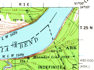 Reduced fragment of topographic map en--usgs--063k--051362--(1939)--N034-00_W091-15--N033-45_W091-00; towns and cities Rosedale