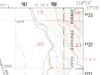 Reduced fragment of topographic map en--usgs--063k--051372--(1950)--N037-15_W118-30--N037-00_W118-15; towns and cities Big Pine