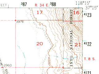 Reduced fragment of topographic map en--usgs--063k--051372--(1958)--N037-15_W118-30--N037-00_W118-15; towns and cities Big Pine
