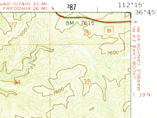 Reduced fragment of topographic map en--usgs--063k--051384--(1958)--N036-45_W112-30--N036-30_W112-15