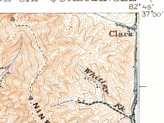 Reduced fragment of topographic map en--usgs--063k--051385--(1929)--N037-00_W083-00--N036-45_W082-45; towns and cities Appalachia, Benham, Big Stone Gap