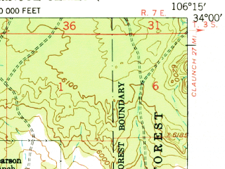 Reduced fragment of topographic map en--usgs--063k--051397--(1948)--N034-00_W106-30--N033-45_W106-15