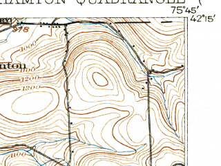 Reduced fragment of topographic map en--usgs--063k--051400--(1904)--N042-15_W076-00--N042-00_W075-45; towns and cities Binghamton, Johnson City, Port Dickinson