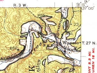 Reduced fragment of topographic map en--usgs--063k--051402--(1948)--N037-00_W091-30--N036-45_W091-15; towns and cities Birch Tree