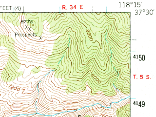 Reduced fragment of topographic map en--usgs--063k--051410--(1949)--N037-30_W118-30--N037-15_W118-15; towns and cities Bishop, Dixon Lane-meadow Creek, West Bishop