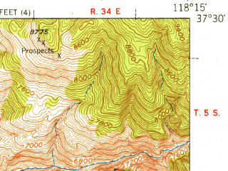 Reduced fragment of topographic map en--usgs--063k--051410--(1951)--N037-30_W118-30--N037-15_W118-15; towns and cities Bishop, Dixon Lane-meadow Creek, West Bishop