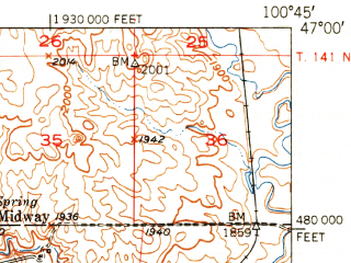 Reduced fragment of topographic map en--usgs--063k--051411--(1951)--N047-00_W101-00--N046-45_W100-45; towns and cities Bismarck, Mandan