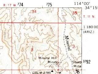 Reduced fragment of topographic map en--usgs--063k--051453--(1959)--N034-15_W114-15--N034-00_W114-00; towns and cities Parker