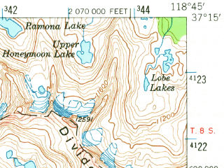 Reduced fragment of topographic map en--usgs--063k--051484--(1953)--N037-15_W119-00--N037-00_W118-45 in area of Courtright Reservoir