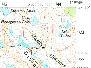 Reduced fragment of topographic map en--usgs--063k--051484--(1962)--N037-15_W119-00--N037-00_W118-45 in area of Courtright Reservoir