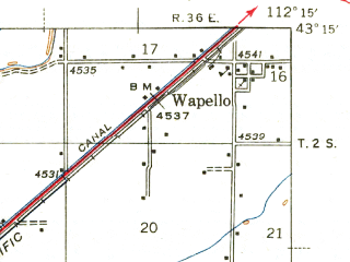 Reduced fragment of topographic map en--usgs--063k--051485--(1943)--N043-15_W112-30--N043-00_W112-15; towns and cities Blackfoot, Fort Hall