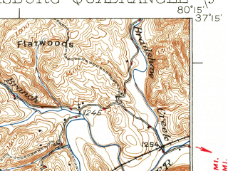 Reduced fragment of topographic map en--usgs--063k--051486--(1937)--N037-15_W080-30--N037-00_W080-15; towns and cities Blacksburg, Christiansburg, Merrimac