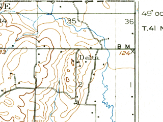 Reduced fragment of topographic map en--usgs--063k--051495--(1907)--N049-00_W122-45--N048-45_W122-30; towns and cities Ferndale, Marietta