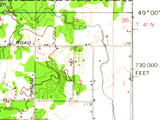 Reduced fragment of topographic map en--usgs--063k--051495--(1952)--N049-00_W122-45--N048-45_W122-30; towns and cities Ferndale, Marietta