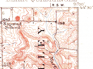 Reduced fragment of topographic map en--usgs--063k--051498--(1927)--N044-30_W091-15--N044-15_W091-00; towns and cities Blair, Hixton, Pigeon Falls