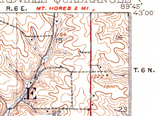Reduced fragment of topographic map en--usgs--063k--051506--(1923)--N043-00_W090-00--N042-45_W089-45; towns and cities Blanchardville, Hollandale, Ridgeway