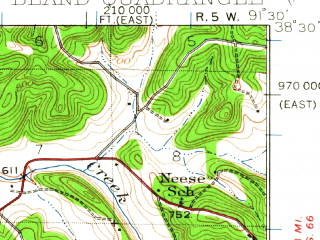 Reduced fragment of topographic map en--usgs--063k--051511--(1934)--N038-30_W091-45--N038-15_W091-30; towns and cities Bland, Belle