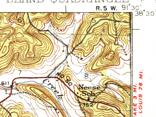 Reduced fragment of topographic map en--usgs--063k--051511--(1937)--N038-30_W091-45--N038-15_W091-30; towns and cities Belle, Bland