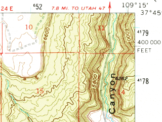 Reduced fragment of topographic map en--usgs--063k--051514--(1957)--N037-45_W109-30--N037-30_W109-15; towns and cities Blanding