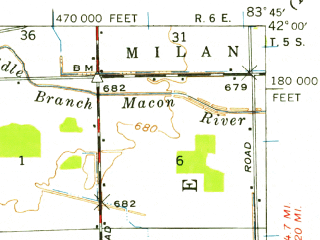 Reduced fragment of topographic map en--usgs--063k--051521--(1939)--N042-00_W084-00--N041-45_W083-45; towns and cities Blissfield, Britton, Deerfield