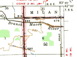 Reduced fragment of topographic map en--usgs--063k--051521--(1941)--N042-00_W084-00--N041-45_W083-45; towns and cities Blissfield, Britton, Deerfield