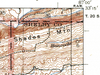Reduced fragment of topographic map en--usgs--063k--051525--(1940)--N033-15_W087-15--N033-00_W087-00; towns and cities Vance, West Blocton
