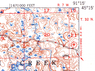 Reduced fragment of topographic map en--usgs--063k--051528--(1951)--N045-15_W091-30--N045-00_W091-15; towns and cities Bloomer