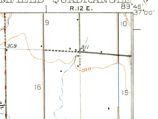 Reduced fragment of topographic map en--usgs--063k--051530--(1934)--N037-00_W090-00--N036-45_W089-45; towns and cities Dexter, Baker, Bloomfield, Essex