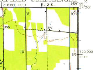 Reduced fragment of topographic map en--usgs--063k--051530--(1949)--N037-00_W090-00--N036-45_W089-45; towns and cities Dexter, Penermon, Baker, Bloomfield