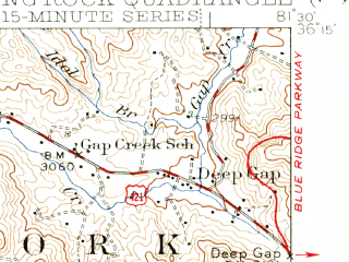 Reduced fragment of topographic map en--usgs--063k--051541--(1942)--N036-15_W081-45--N036-00_W081-30; towns and cities Boone, Blowing Rock