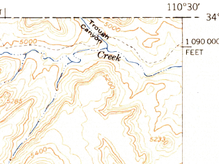 Reduced fragment of topographic map en--usgs--063k--051549--(1951)--N034-00_W110-45--N033-45_W110-30