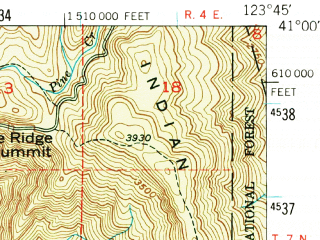 Reduced fragment of topographic map en--usgs--063k--051550--(1951)--N041-00_W124-00--N040-45_W123-45; towns and cities Blue Lake