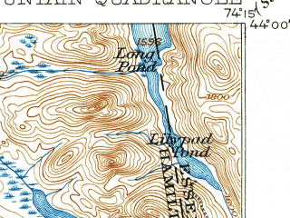 Reduced fragment of topographic map en--usgs--063k--051553--(1903)--N044-00_W074-30--N043-45_W074-15 in area of Blue Mountain Lake, Lake Eaton