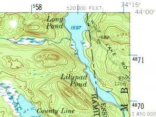 Reduced fragment of topographic map en--usgs--063k--051553--(1954)--N044-00_W074-30--N043-45_W074-15 in area of Blue Mountain Lake, Lake Eaton