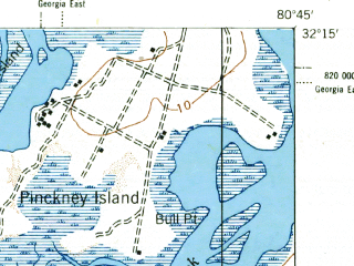 Reduced fragment of topographic map en--usgs--063k--051567--(1945)--N032-15_W081-00--N032-00_W080-45; towns and cities Wilmington Island, Bluffton, Tybee Island