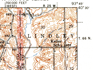 Reduced fragment of topographic map en--usgs--063k--051588--(1947)--N040-30_W094-00--N040-15_W093-45; towns and cities Blythedale, Cainsville, Eagleville